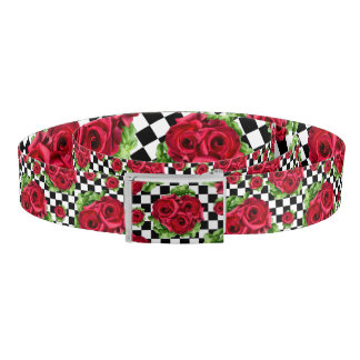 Red Roses Bouquet Floral Love Rockabilly Belt