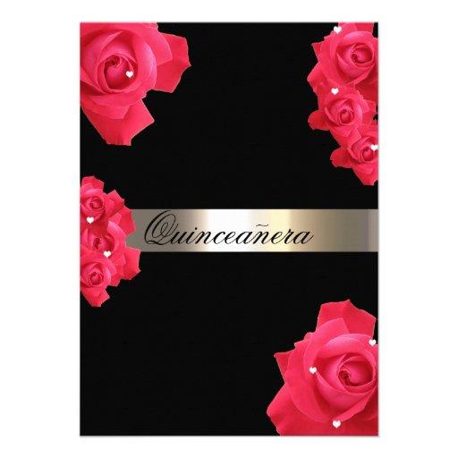 Red Roses Custom Quinceanera Invitation