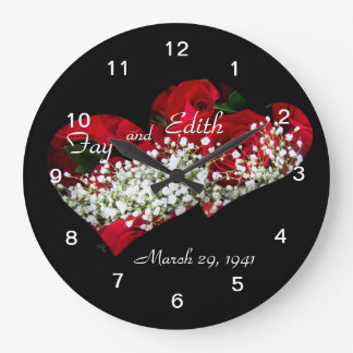 Red Roses & Double Hearts Clock- customize Large Clock