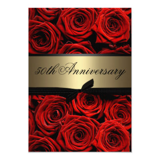 Red Roses | Golden Anniversary 13 Cm X 18 Cm Invitation Card