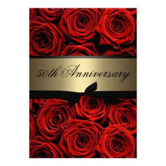 Red Roses Golden Anniversary Invite