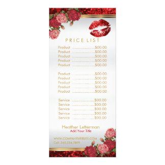 Red Roses Lip Glitter Price List Rack Card