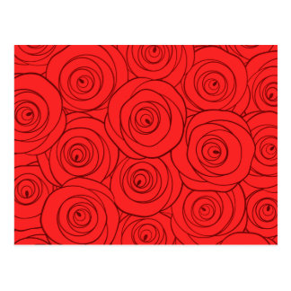 Red Roses Pattern Postcard