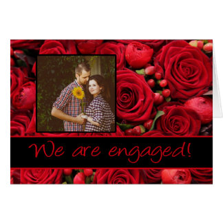 red roses photo engagement announcement greeting card