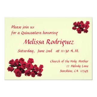 Red Roses Quinceanera 13 Cm X 18 Cm Invitation Card
