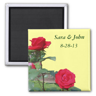 Red Roses Save The Date Wedding Favor Magnet
