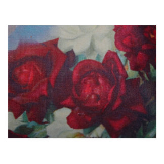 Red Roses Vintage Fabric Post Card