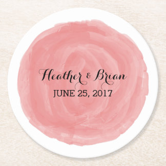 Red Round Watercolor Wedding Paper Coasters
