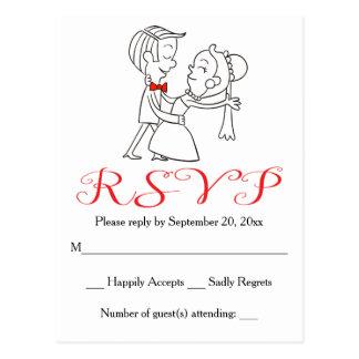 Red RSVP Bride & Groom Black And White Wedding Postcard