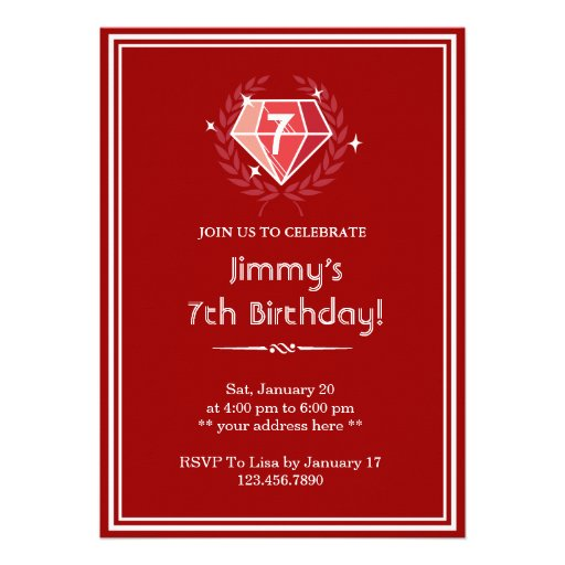 Red Ruby Gems Birthday Party Invitation