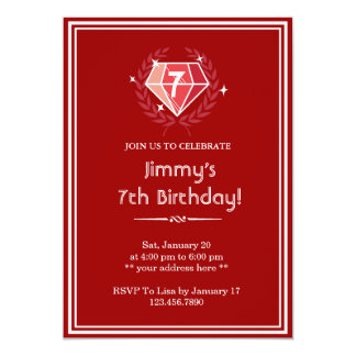Red Ruby Gems Birthday Party Invitation