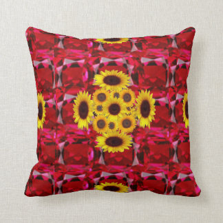 RED RUBY GEMSTONES & YELLOW FLOWERS  JULY  ART CUSHION