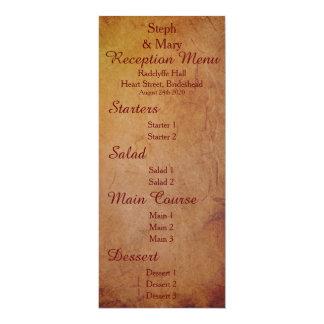 Red Rustic Lesbian Bride Wedding Reception Menu Card