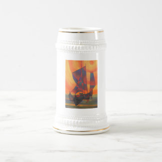 Red Sails in the Sunset Cubist Junk Abstract Beer Stein