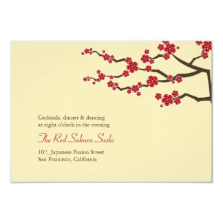 Red Sakura Cherry Blossoms Oriental Wedding Recept 3.5x5 Paper Invitation Card