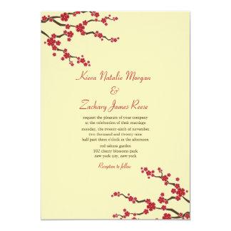 Red Sakura Cherry Blossoms Oriental Zen Wedding 2 5x7 Paper Invitation Card