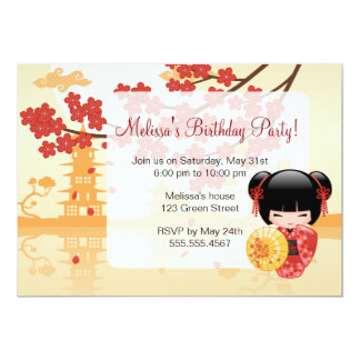 Red Sakura Kokeshi Doll - Japanese Geisha 13 Cm X 18 Cm Invitation Card