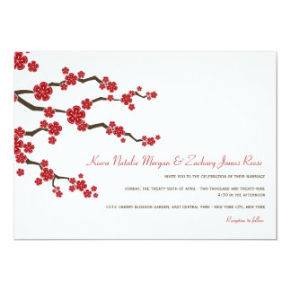"Red Sakuras Cherry Blossoms Spring Wedding Invite 5"" X 7"" Invitation Card"