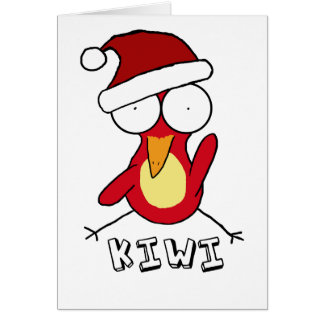 Red Santa Kiwi Holiday Card