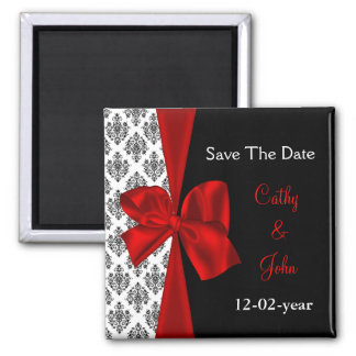 red Save the date magnet Fridge Magnet