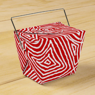 Red Scribbleprints Pattern Favour Box