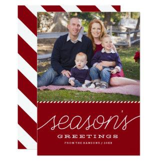 "Red ""Season's Greetings"" Bottom Holiday Photo Card 13 Cm X 18 Cm Invitation Card"