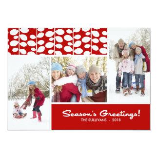 Red Season's Greetings Flat Holiday Photo Card 13 Cm X 18 Cm Invitation Card