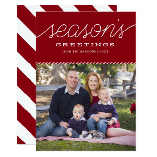 "Red ""Season's Greetings"" Holiday Photo Card"