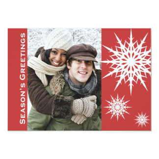 "Red Season's Greetings Snow Holiday Flat Card 5"" X 7"" Invitation Card"