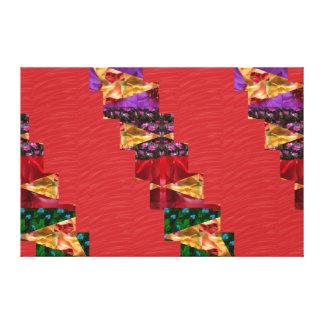 Red Silken Fabric ART Strips: NOVINO Graphics Canvas Print