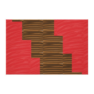 Red Silken Fabric CHOCOLATE Strips NOVINO Graphics Canvas Print