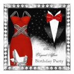 Red Silver Dress Black Tie Birthday Party 2 13 Cm X 13 Cm Square Invitation Card