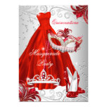 Red Silver Dress masquerade Quinceanera mask 13 Cm X 18 Cm Invitation Card