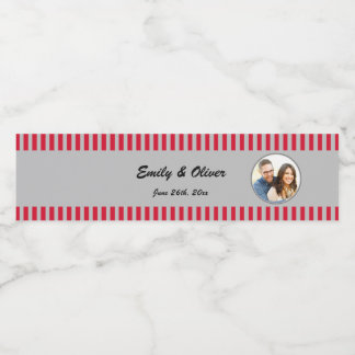 Red Silver Photo Bottle Label Wedding