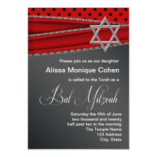 Red Silver Star of David Bat Mitzvah Invitation