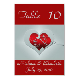Red/Silver Wedding Table Numbers Card