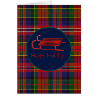 Red Sled MacPherson Plaid Christmas Greeting Card