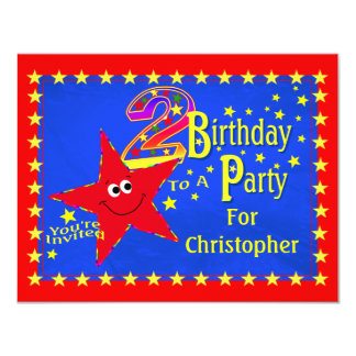 Red Smiley Star 2nd Birthday Party Invitation