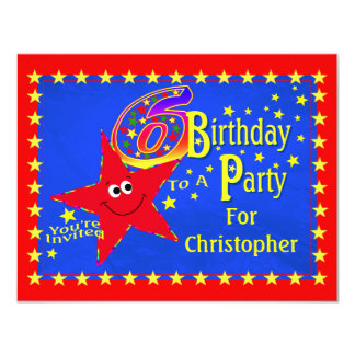 Red Smiley Star 6th Birthday Party Invitation
