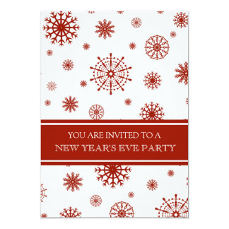 Red Snow New Year's Eve Party Invitation Card
