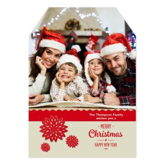 Red Snowflake Border Holiday Photo Card