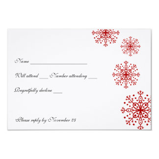 Red Snowflakes rsvp with envelopes Personalized Invitations