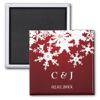 red snowflakes save the date magnets fridge magnets