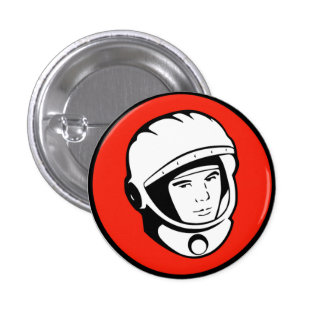 Red Soviet Cosmonaut Button