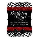 Red Sparkle Zebra Girl's Birthday Custom Invitations