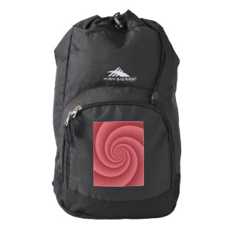 Red Spiral in brushed metal printed texture Backpack