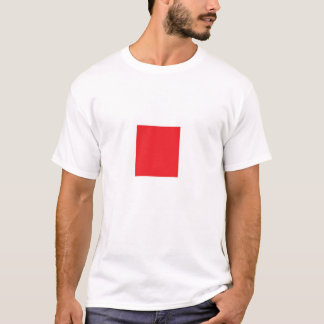 Red Square on White Shirt
