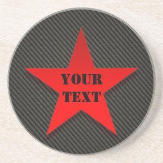 Red Star on Black Carbon Fiber Coaster
