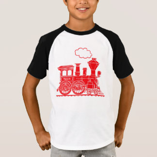 "Red steam loco train ""your name"" kids t-shirt"