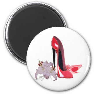 Red Stiletto Shoes and Tiger Lily Art Fridge Magnets